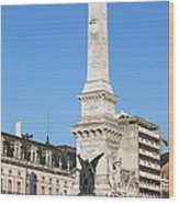 Monument On Restauradores Square In Lisbon Wood Print