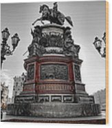 Monument To Russian Emperor Nicholas I In St . Petersburg . Russia Wood Print