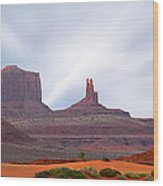 Monument Valley At Sunset Panoramic Wood Print