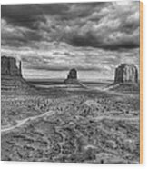 Monument Valley Black And Withe Wood Print