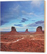 Monument Valley Cool Light After Sunset Wood Print