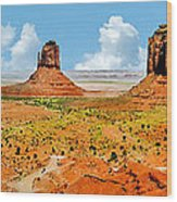 Monument Valley In Spring Panoramic Painting Wood Print