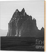 Monument Valley Region-arizona Black And White Wood Print