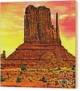 Monument Valley Right Mitten Sunrise Painting Wood Print