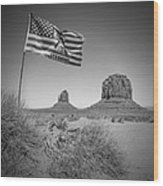 Monument Valley Usa Bw Wood Print