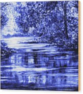 Moody Blue Wood Print by Ann Marie Bone