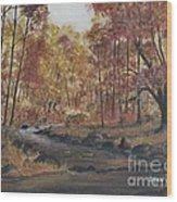 Moody Woods In Fall Wood Print