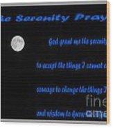 Moon - Serenity Prayer - Blue Wood Print