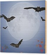 Moon And Bats Wood Print