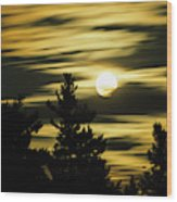 Moon And Clouds, Mont-saint-bruno Wood Print