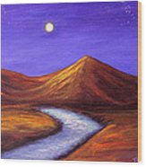 Moon And Cygnus Wood Print by Janet Greer Sammons