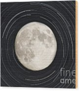 Moon And Startrails Wood Print