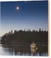 Moon And Venus Over Five Islands Wood Print by Benjamin Williamson