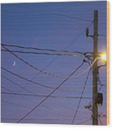 Moon And Wires Wood Print