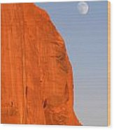 Moon At Monument Valley Wood Print