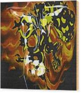 Moon Bath With Burning Skull Wood Print