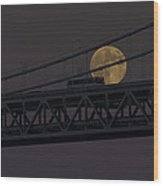 Moon Bridge Bus Wood Print