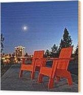 Moon Chairs Wood Print by Dan Quam