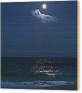 Moon Cloud Wood Print