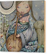 Moon Guitar Wood Print
