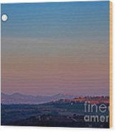 Moon Hanging Over Montepulciano, Italy Wood Print