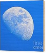 Moon In The Blue Sky. Wood Print
