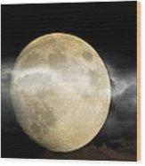 Moon In The Fog Wood Print