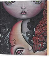 Moon Keeper Wood Print by  Abril Andrade Griffith