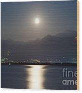 Moon Light Over A Lake Wood Print