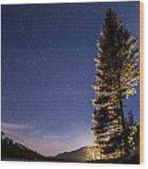 Moon Light Over Tenaya Lake Wood Print
