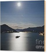 Moon Light Reflected Over An Alpine Lake Wood Print