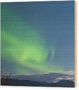 Moon-lit Clouds Northern Lights Over Lake Laberge Wood Print