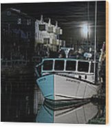 Moon Lit Harbor Wood Print