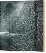Moon Misty Lake  Wood Print by Dorothy Walker
