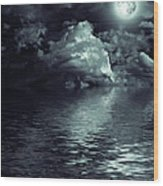 Moon Mysterious Wood Print