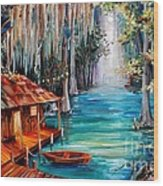 Moon On The Bayou Wood Print