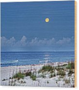 Moon Over Beach Wood Print by Michael Thomas