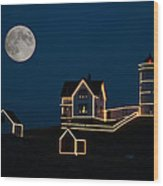 Moon Over Cape Neddick Wood Print