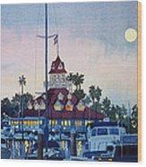 Moon Over Coronado Boathouse Wood Print