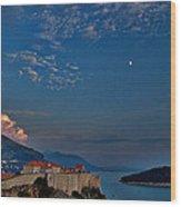 Moon Over Dubrovnik's Walls Wood Print