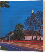 Moon Over E77 Road In Warmia Region In Poland Wood Print