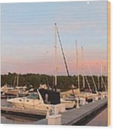 Moon Over Egg Harbor Marina Wood Print