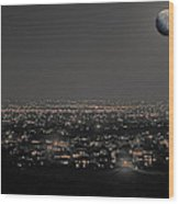Moon Over Fort Collins Wood Print