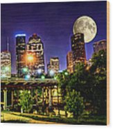 Moon Over Houston Wood Print by Lester Phipps