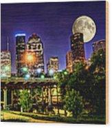 Moon Over Houston Wood Print