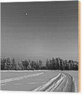 Moon Over Ice Road Wood Print