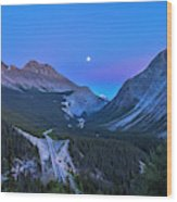 Moon Over Icefields Parkway Wood Print