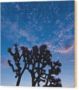 Moon Over Joshua - Joshua Trees During Sunrise In Joshua Tree National Park. Wood Print