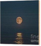 Moon Over Lake Of Shining Waters Wood Print
