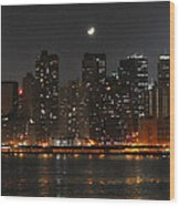 Moon Over Manhattan Wood Print